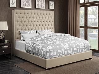 Coaster Home Furnishings 300722KE Upholstered Bed, Cream