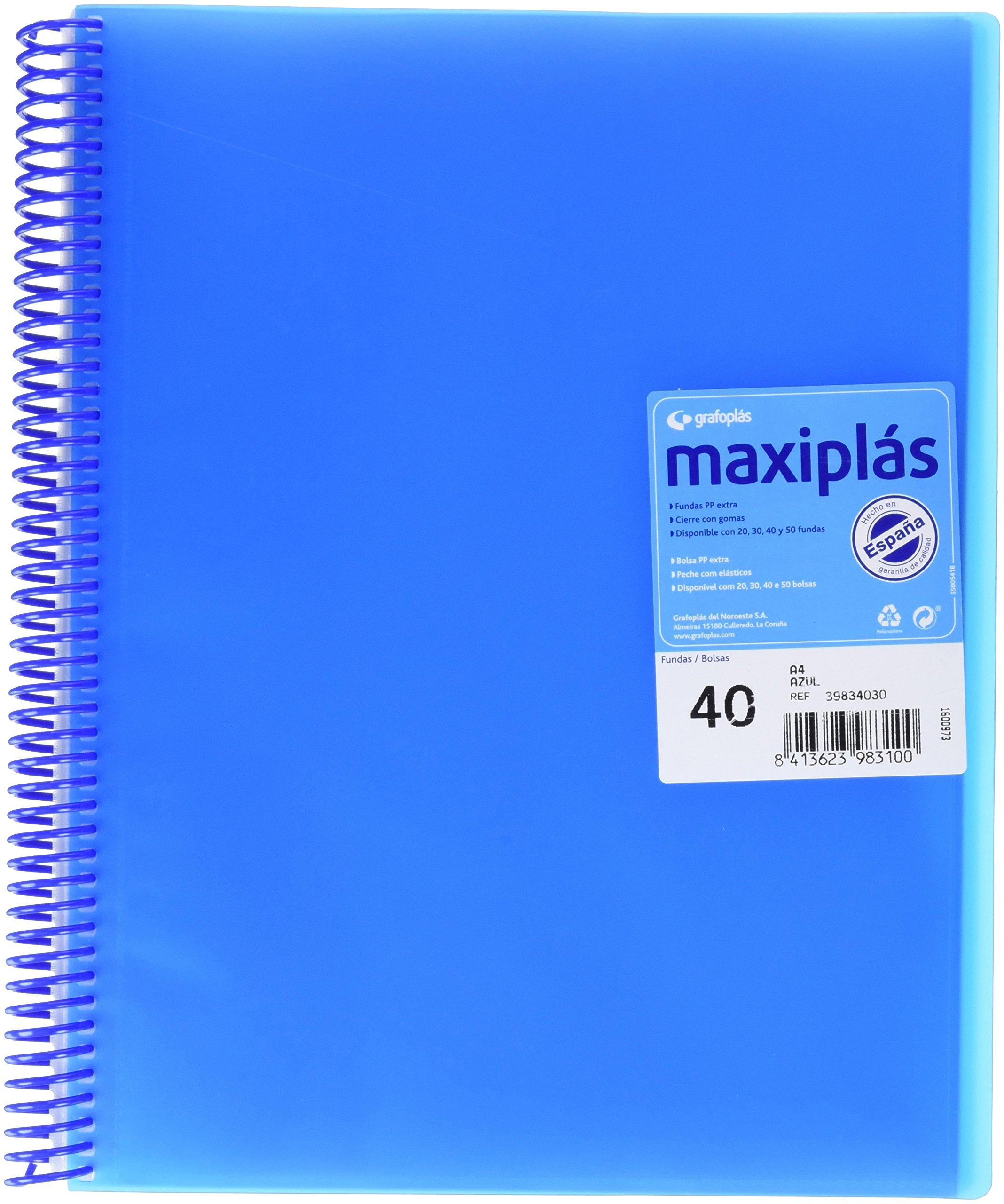 Grafoplás 39834030-Carpeta con 40 fundas A4 con sobre. Color azul: Amazon.es: Oficina y papelería