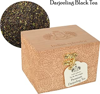 INDIAN SPLENDOR Taj By Moonlight - Exclusively Handpicked, 100% Pure and Natural, Premium Darjeeling Black Tea Leaf (Delicate Muscatel) in handcrafted Wooden Gift Box.