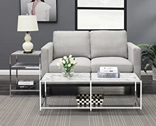 Convenience Concepts 134582WM Coffee Table, Faux White Marble/Glass/Chrome Frame