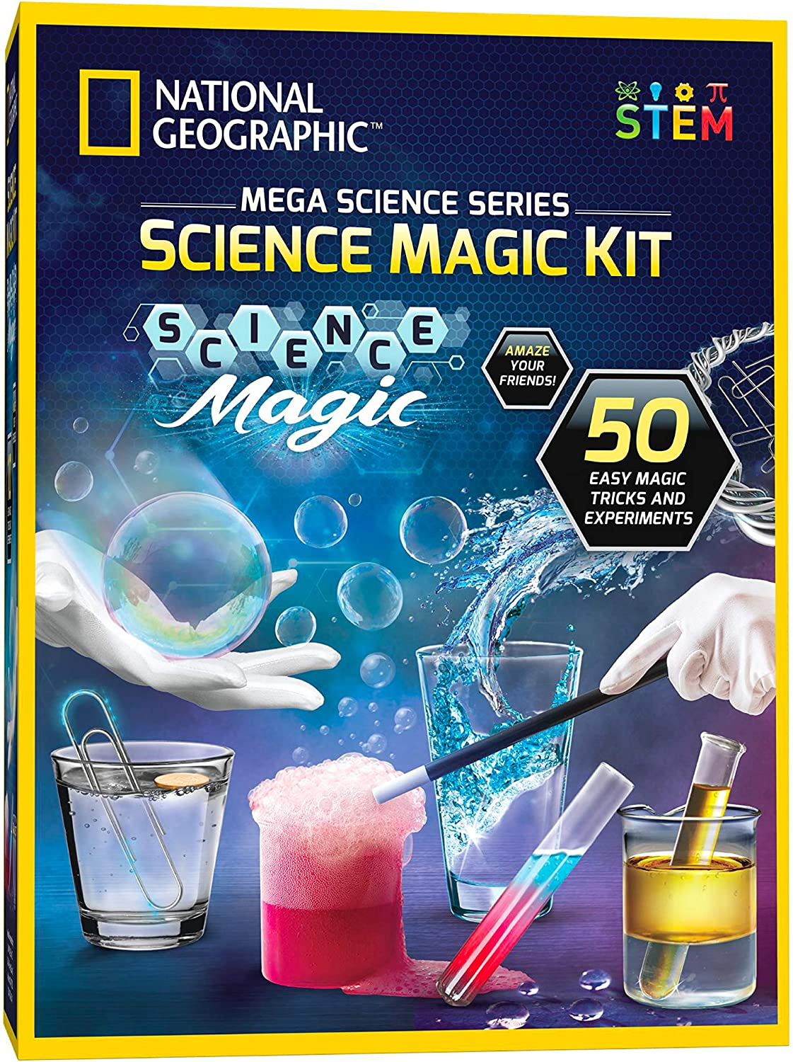 Includes Magic Wand and Over 50 Pieces NATIONAL GEOGRAPHIC Science Magic Kit Perform 20 Unique Science Experiments as Magic Tricks Great STEM Learning Science Kit for Boys and Girls