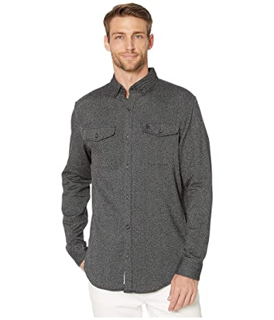Original Penguin Long Sleeve Jaspe Flannel Shirt (True Black) Men