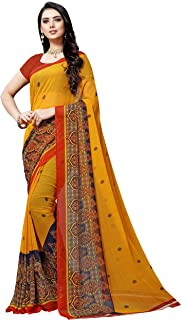 Anand Sarees georgette with blouse piece Saree (1497_ multicoloured_ one size)