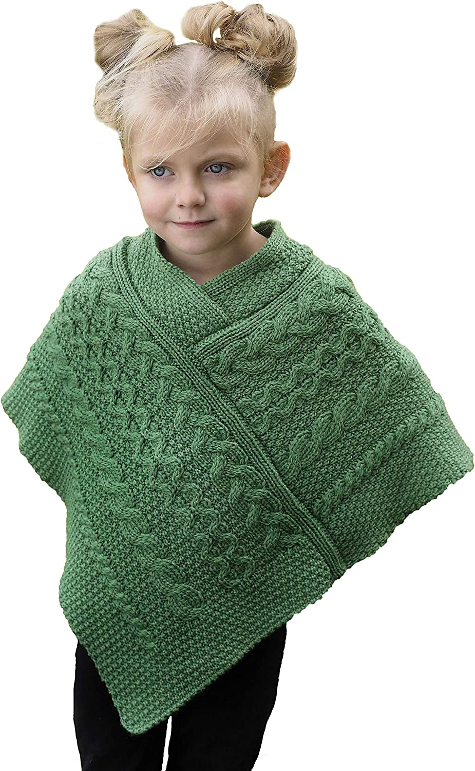 Aran New life Crafts Kid's Irish Cable Knitted Cape Poncho Mer Wholesale 100% Soft