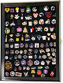 Lapel Pin Pins Display Case Cabinet Wall Rack Holder Disney Hard Rock Military Pins (Black Finish)