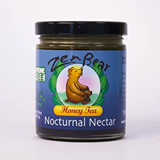 Nocturnal Nectar | Herb Infused Raw Honey Tea with chamomile, valerian root, spearmint and lemon grass is a soothing night cap for a perfect night's sleep | 8 OZ jar
