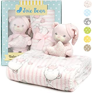 JOIE BEAN Baby Blanket and Stuffed Animal Set for Girls   2 Piece Plush Teddy Bear and Soft Fleece Security Throw Blanket for Baby, Newborn   Perfect Baby Shower Present (Pink)