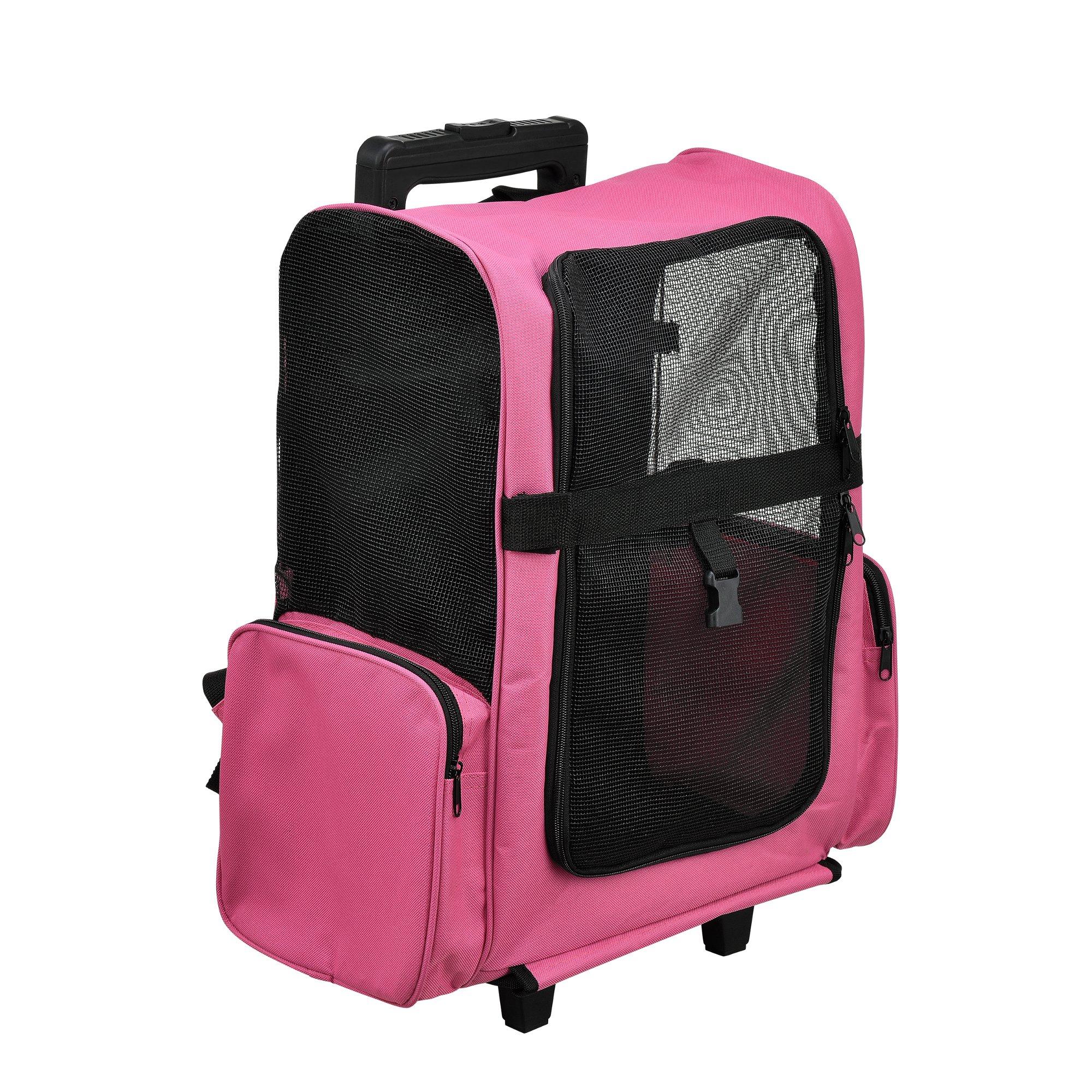 pro.tec] Mochila / carrito para perros 2 en 1 - transportín para perros y gatos (rosa) - con 4 ruedas: Amazon.es: Productos para mascotas