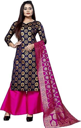 women s ethnic wear cotton silk navy blue colour dress material Aksara navy blue