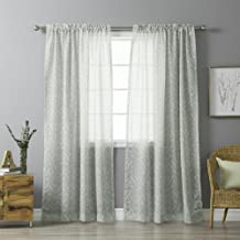 "Best Home Fashion Sheer Ikat Printed Curtains - Rod Pocket - Grey - 54""W x 84""L - (Set of 2 Panels)"