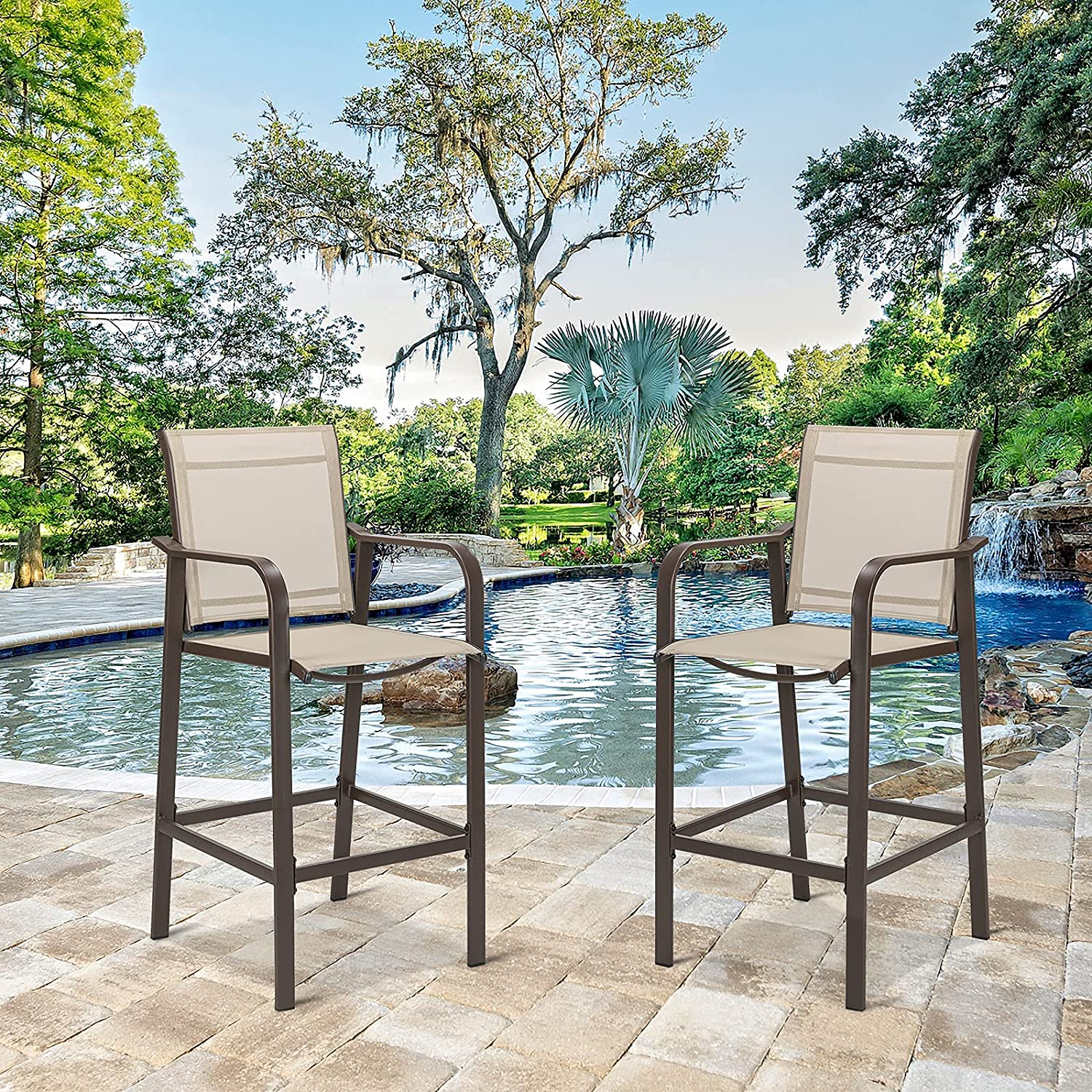 VINGLI Metal Patio Bar Stools Set Counter Clearance SALE! Limited time! Weather of Heig Columbus Mall 2 All