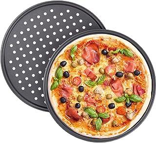 Relaxdays Lot de 2 moules à pizza ronds perforés antiadhésifs en acier carbone Gris Ø 32 cm
