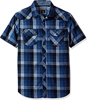 LEE Men's Regular Fit, Big & Tall, Short Sleeve Button Down Plaid Cotton Shirt