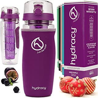 Best Hydracy Fruit Infuser Water Bottle - 32 oz Sports Bottle - Insulating Sleeve, Time Marker & Full Length Infusion Rod + 27 Fruit Infused Water Recipes eBook Gift - Your Healthy Hydration Made Easy Review
