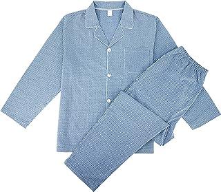 Mens Pyjamas Set Long Sleeve Top & Pyjama Bottoms Cotton Checked Sleepwear Pjs Trousers Pyjamas for Men Nightwear Loungewear