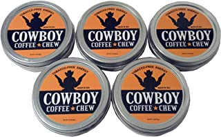 Cowboy Coffee Chew (Pack of 5) Quit Chewing Tin Can Non Tobacco Nicotine Free Smokeless Alternative to Dip Snuff Snus Leaf