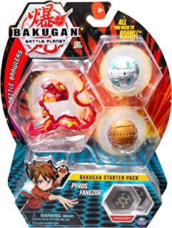 Bakugan Starter Pack 3 Pack, Pyrus Fangzor, Collectible Transforming Creatures, for Ages..