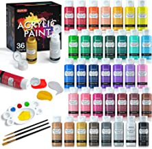 Acrylic Paint Set, Shuttle Art 36 Colors (60ml, 2oz) with 3 Brushes & 1 Palette, Craft Painting, Rich Pigments,Non-Toxic f...