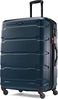 Samsonite Omni PC Hardside Expandable Luggage with Spinner Wheels, Teal, Checked-Large 28-Inch