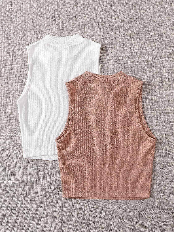 Milumia Women's 2 Packs Ribbed Knit Mock Neck Sleeveless Casual Basic Tank Top