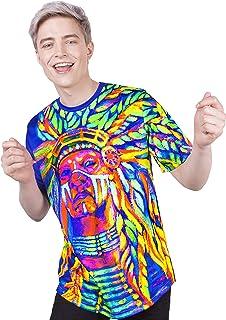 aofmoka Ultraviolet Fluorescent Handmade Art Neon Blacklight Reactive Print T-Shirt