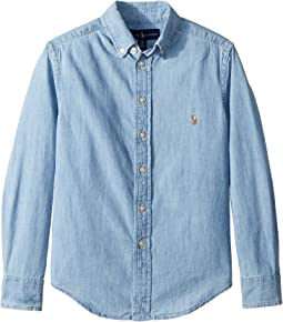 Indigo Cotton Chambray Shirt (Big Kids)
