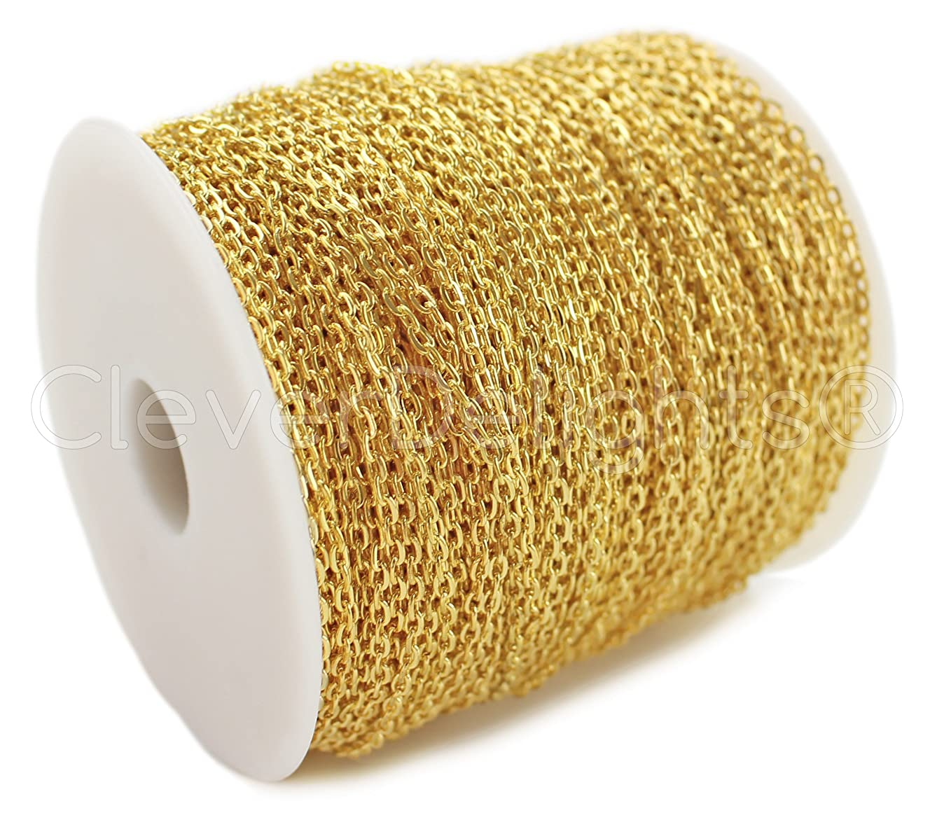 CleverDelights Cable Chain Spool - 330 Feet - Gold Color - 2x3mm Link - Rolo Chain Bulk Roll