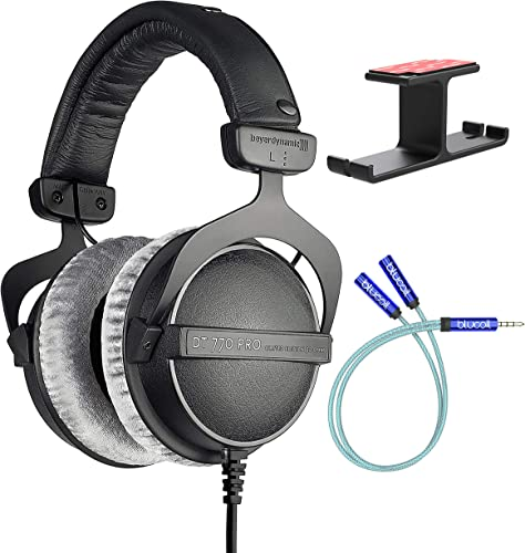 new arrival Beyerdynamic DT 770 PRO 32 Ohm Closed-Back Headphones for Smartphones, Computers, and Mobile Devices online sale Bundle with online Blucoil Aluminum Dual Suspension Headphone Hanger, and Y Splitter for Audio and Mic online