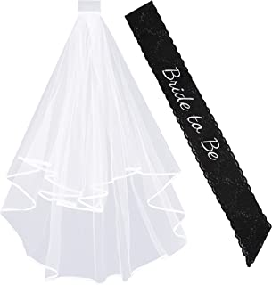 DECORA Elegant Bride to Be Bachelorette Black Sash and Embroidered Lace Veil with Comb for Hen & Bridal Shower Party