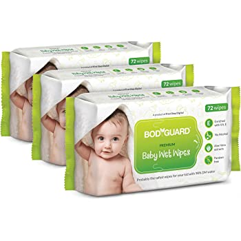 BodyGuard Premium Paraben Free Baby Wet Wipes with Aloe Vera - 72 Wipes (Pack of 3)