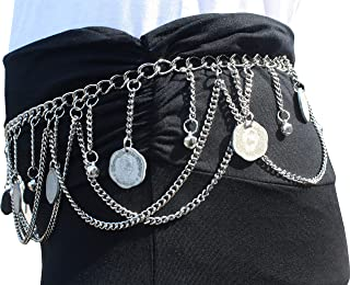 Svenine Hanging Pewter Belly Dancing Chained Belt with Large Coins - Silver