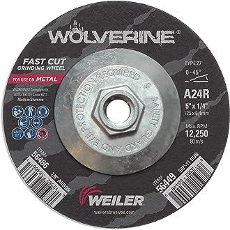 4 1//2 Diameter Type 27 Grinding Wheel Weiler 56454 Wolverine 5//8 11 Arbor 1//4 Thickness A24R Grit