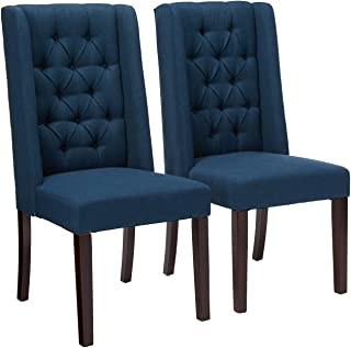 Christopher Knight Home Blythe Tufted Fabric Dining Chairs (302442), 2-Pcs Set - Navy Blue / Brown