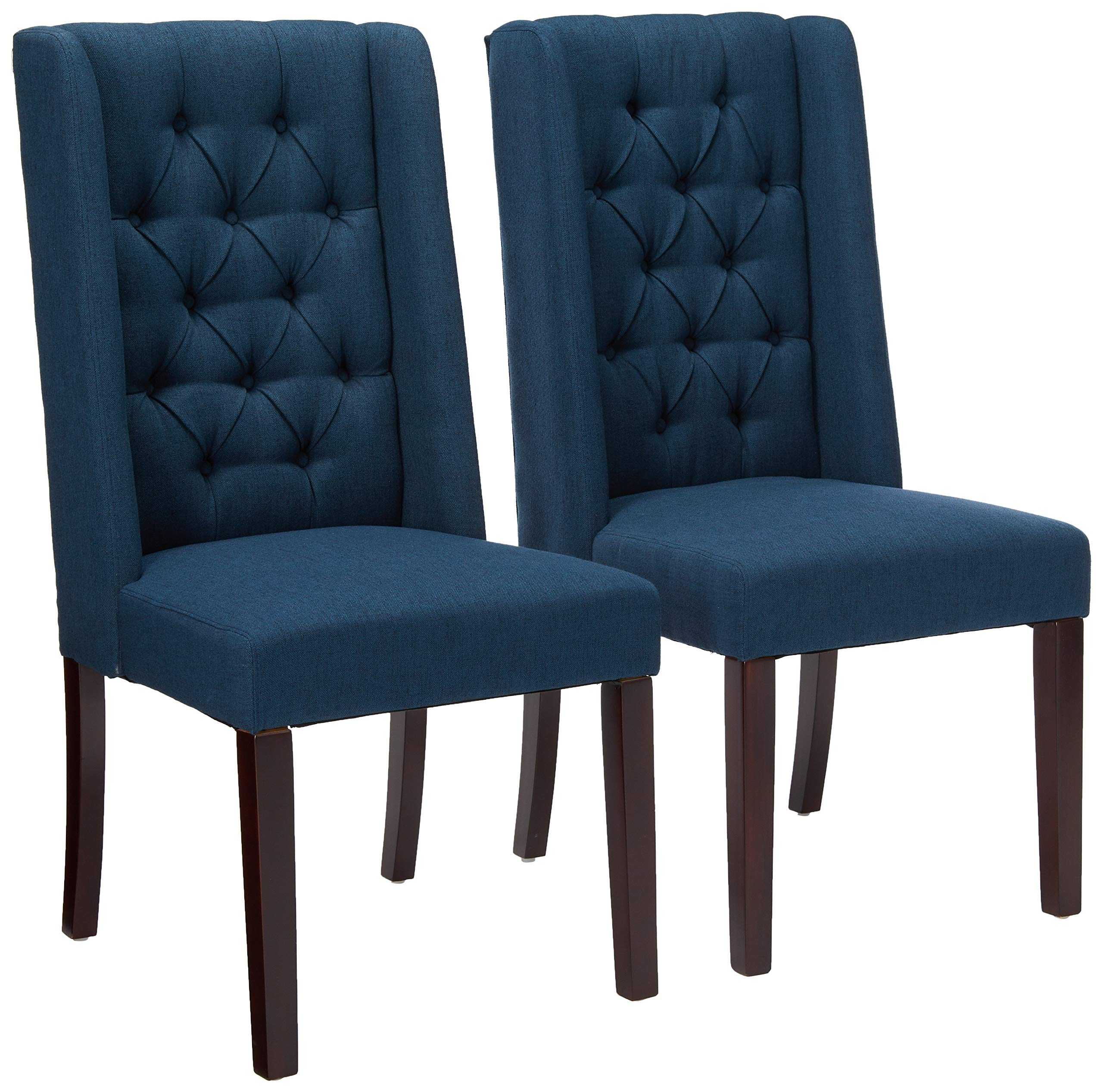 Amazon Com Christopher Knight Home Blythe Tufted Fabric Dining Chairs 302442 2 Pcs Set Navy Blue Brown Chairs