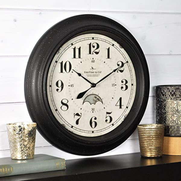 FirsTime Co 25676 FirsTime Luna Wall Clock 15 5 Oil Rubbed Bronze
