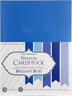 "Darice GX220061  Core'dinations Value Pack Cardstock (50 Pack), 8.5 by 11"", Brilliant Blue"