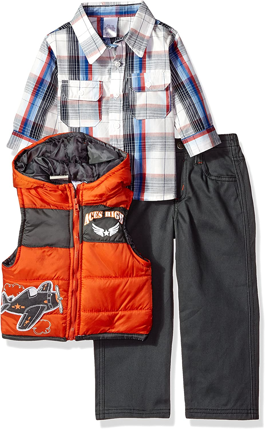 Little Rebels Baby Boys' 3 Piece Plaid And Airplane Vest And Pant Set