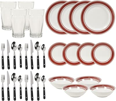 Gibson Home 32 Piece Basic Living Dinnerware Combo Set, Brick