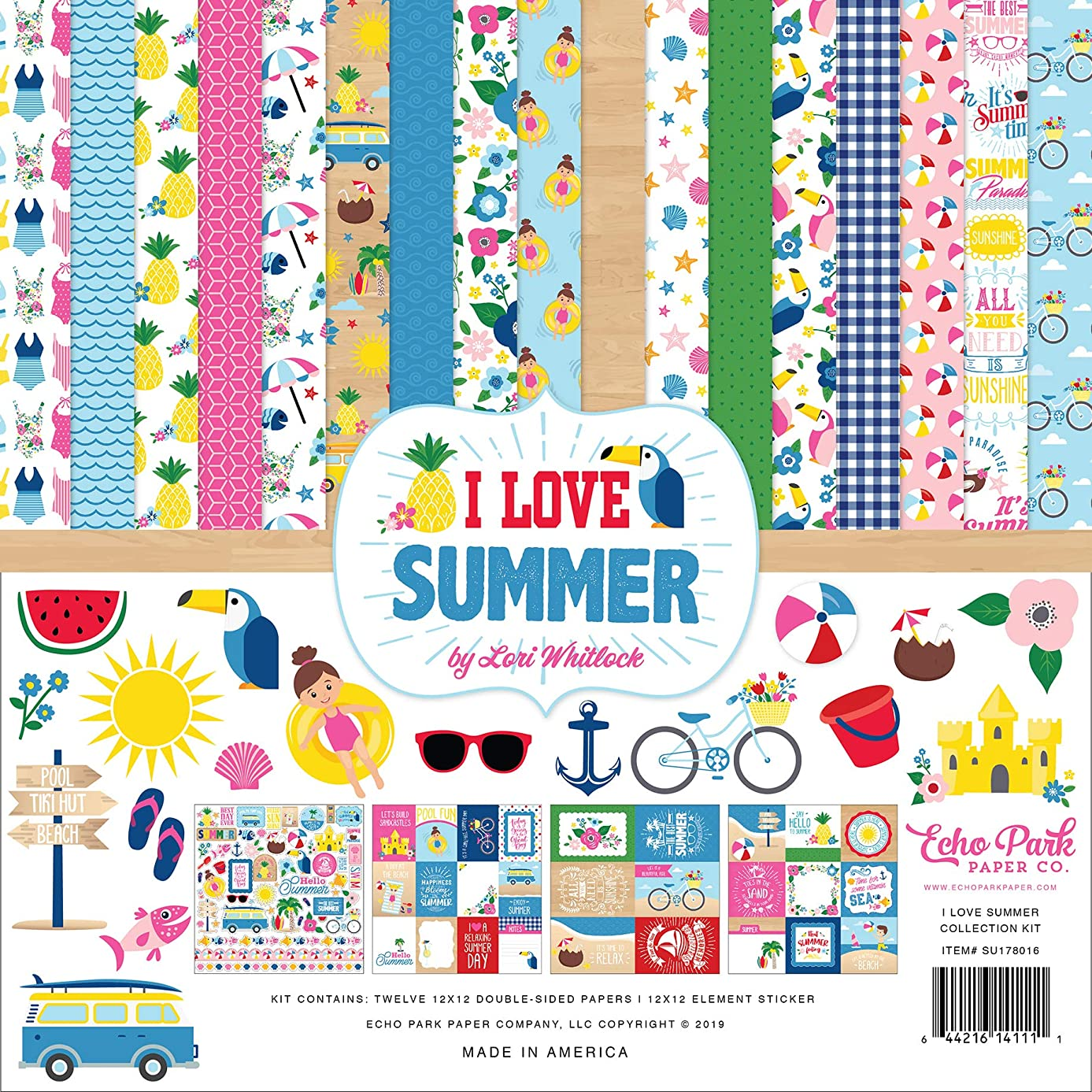 Echo Park Paper Company SU178016 I Love Summer Collection Kit Paper Pink, Teal, Green, Yellow, Blue, red