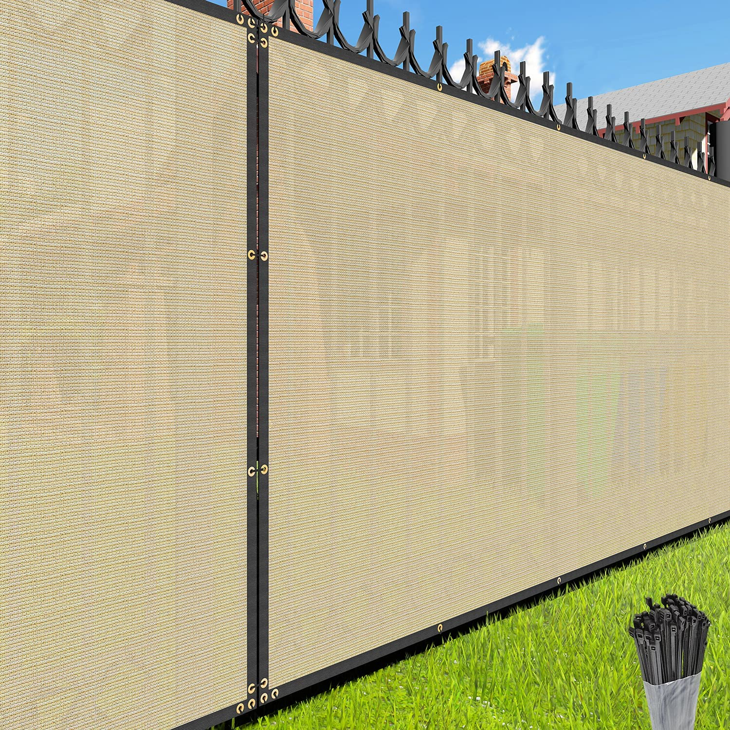 EK Sunrise Fence Privacy Screen Popularity with x 8' Beige Sale special price Zipties Co 28'