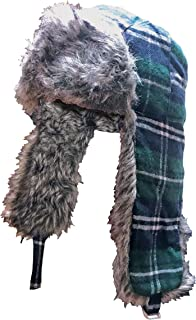 Sock Snob Mens Winter Warm Plaid Wool Blend Hunting Trapper Hat with Ear Flaps Chin Strap