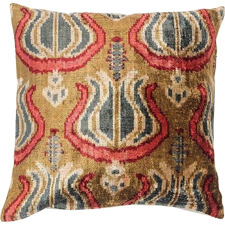 Handmade Silk Pillow Ikat velvet pillow 24x24 inch velvet pillow Decorative Pillow Silk cushion cover, Square ikat pillow