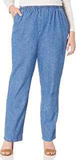 Chic Classic Collection Women's Plus Cotton Pull-on Pant with Elastic Waist
