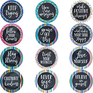 Paper Junkie 48-Count Positive Sayings Cutouts, Bulletin Board Decorations, 12 Designs