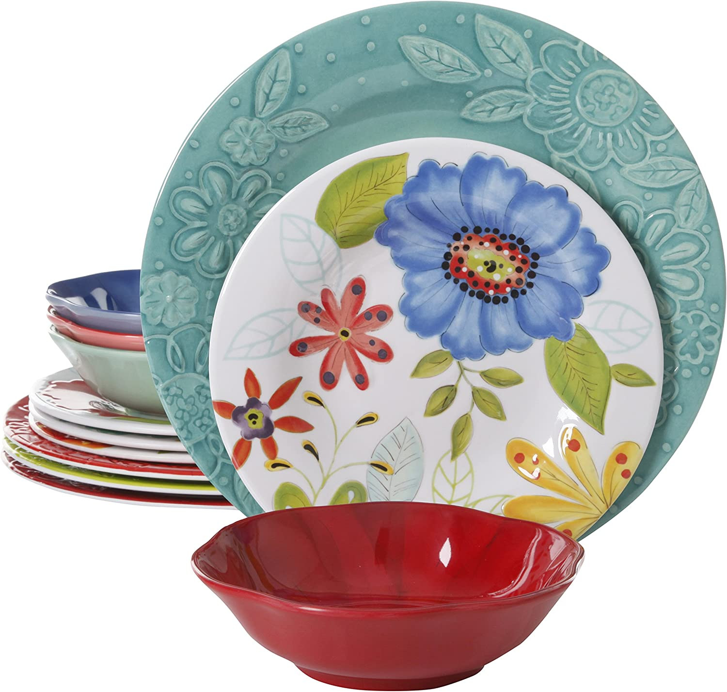 Gibson Studio 116500.12 Flora 12 Piece Melamine Dinnerware Set, Mix and Match