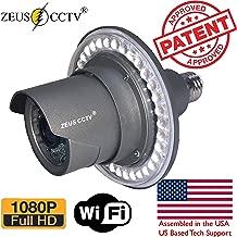 Zeus CCTV WiFi Floodlight Bulb Camera Home Security System Wireless Outdoor Waterproof Remote Control Camera Night Vision 1080p E26 LED Floodlight Cam (16GB, Single Camera Model)