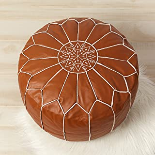 Handmade Faux Leather Ottoman Footstool - Living Room/Dining Room/Man Cave Decor - Moroccan Pouf Footstool - Unstuffed Leather Ottoman - Textured Finish/White Embroidery - White/Gold Piping