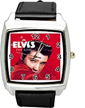 TAPORT Elvis Presley Music Legend Quartz Square Watch Real Leather Band E5 Dial+ Spare Battery + Gift Bag