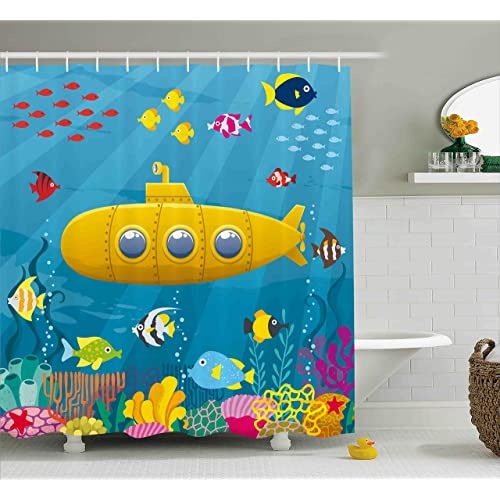 8676dd78e5521 Ambesonne Yellow Submarine Shower Curtain Set, Coral Reef with Colorful  Fish Ocean Life Marine Creatures