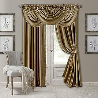 Elrene Home Fashions Versailles Faux Silk Room Darkening & Energy Efficient Lined Rod Pocket Window Curtain Drape Pleated Solid Panel, 52